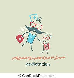 barnläkare, flugor, till, a, sjuk barn