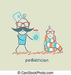 barnläkare, givande medicin, till, a, barn