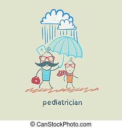 barnläkare, hålla en paraply, över, den, barn, i regna
