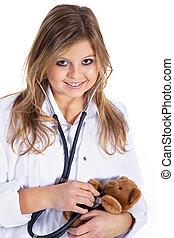 barnläkare, med, teddy