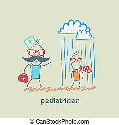barnläkare, prata, a, sjuk barn, i regna