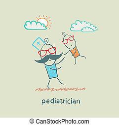 barnläkare, spelande barn