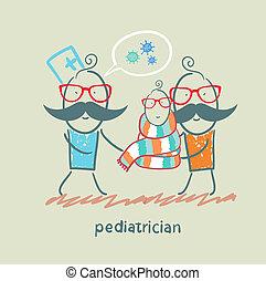 barnläkare, stående, bredvid, hans, fader, och, a, sjuk barn