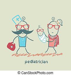 barnläkare, står, bredvid, henne, mor, och, sjuk barn