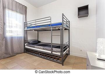 barns, brits, interiör., säng, sovrum