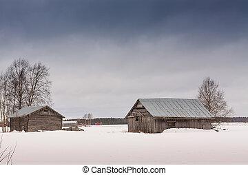 Barns On The Snow Fields
