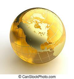 barnsteen, gouden, continenten, globe, achtergrond, witte