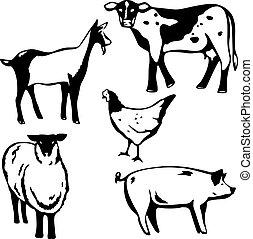 Barnyard animals - Five stylized vector illustrations of...