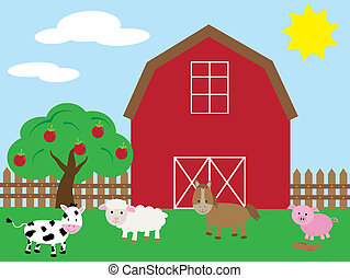 Barnyard with animals