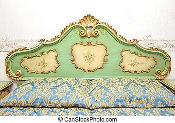 barocco, dettaglio, letto