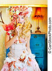 barocco, moda, biondo, donna mangia, dona