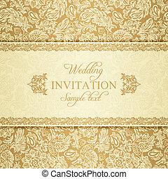 Einladung Barock Gold Wedding Gold Einladung Beiger