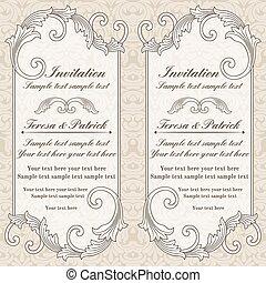 Einladung Barock Wedding Grau Beige Altmodisch Einladung Grau