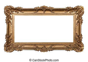 barock, isolerat, ram, ornamental, vit
