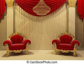 barock, möbel, in, königlich, inneneinrichtung