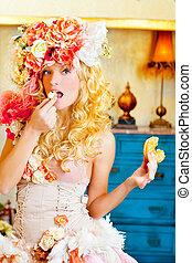 barock, mode, blondin, kvinna ätande, dona