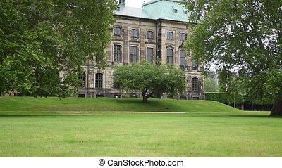 barok, elba, gmach, dresden., neustadtbank, pałac, rzeka, ...