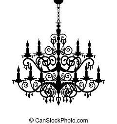 barok, kroonluchter, silhouette
