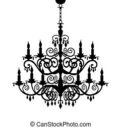 barok, lysekrone, silhuet