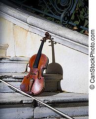 barok, viool, 3, oud, herfst