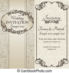 barokk, esküvő invitation, barna