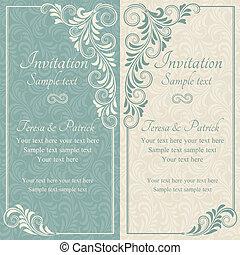 barokk, esküvő invitation, kék, és, nyersgyapjúszínű bezs