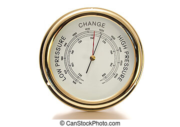 Barometer Brass with White Face Isolated on White Background