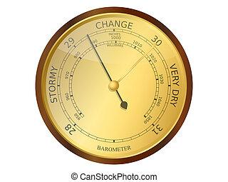 Barometer - Old brass and wooden barometer vector...