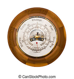 Barometer isolated - Traditional wooden barometer and...