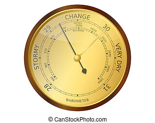 Barometer - Old brass and wooden barometer vector...