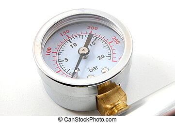 barometer - high pressure barometer of a pump on white...