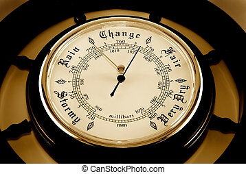 Barometer - The dial of a barometer is photographed close-up...