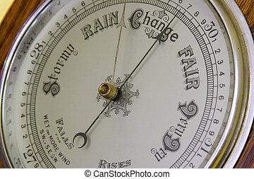 Barometer - Close up  of an antique banjo barometer