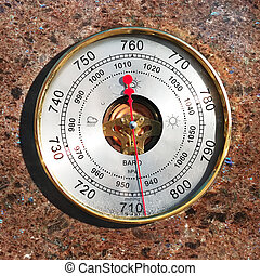 Barometer  - Outdoor barometer on marble wall