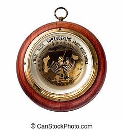 Barometer - Old danish barometer of wood and brass