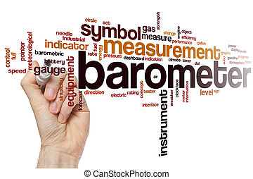 Barometer word cloud concept with instrument equipment...