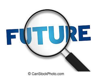 barometr, budoucí, -, zvetšovací sklo