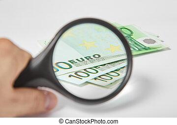 barometr, zvetšovací sklo, euros