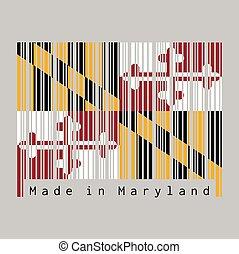 baron, couleur, ensemble, 1er, text:, george, bannière, barcode, calvert, drapeau, maryland., fait, maryland, baltimore., héraldique