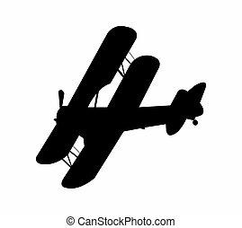 baron, silhouette, rouges, avion