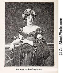 Baroness Anne Louise Germaine de Stael-Holstein ( Madame de Stael) 1766 - 1817, engraving portrait