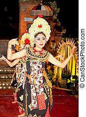 barong, indonesia., ballo, bali, compiuto, keris