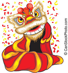 barongsai, -, dragon chinois