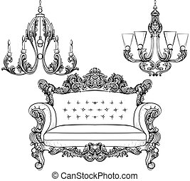 Baroque armchair and chandelier set with luxurious ornaments. Vector French Luxury rich intricate structure. Victorian Royal Style decor