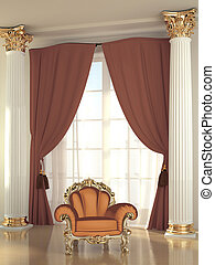Baroque armchair in luxurious interior hall