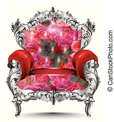 Baroque armchair silver ornament. Vintage furniture rich carved decor. Red roses upholstery Vector illustration
