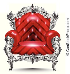 Baroque armchair silver ornament. Vintage furniture rich carved decor. Red upholstery Vector illustrations