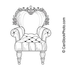 Baroque armchair Vector French Luxury rich intricate structure. Victorian Royal Style decors