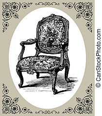 Baroque armchair - Vector illustration of antique baroque...