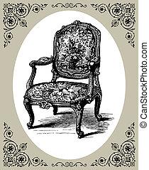 Baroque armchair - Vector illustration of antique baroque...